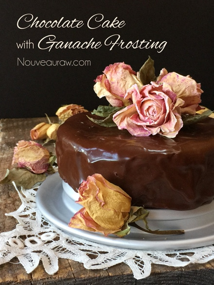 Mouth Watering, Amazing Raw Flourless Chocolate Cake with Ganache Frosting decorated with organic dried rose petals
