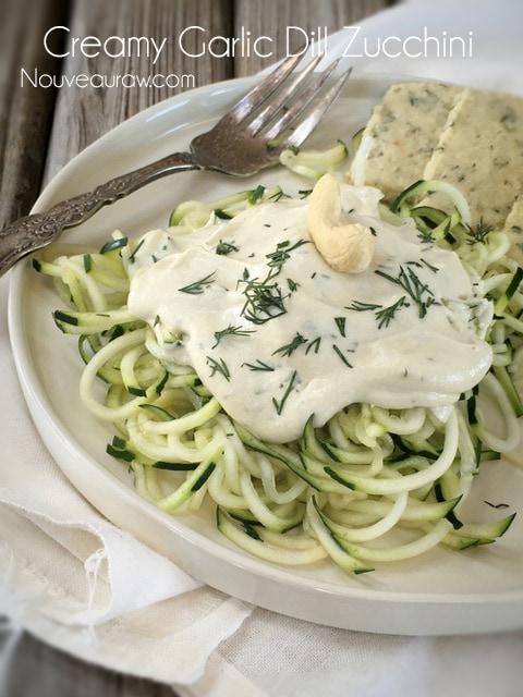 raw, vegan, gluten-free Creamy Garlic Dill Zucchini Pasta