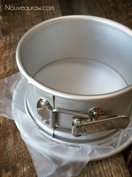 """Line a 6"""" cake pan with a parchment-paper or plastic wrap"""