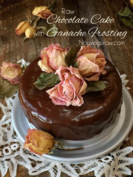 raw, vegan, gluten-free chocolate cake and ganache frosting