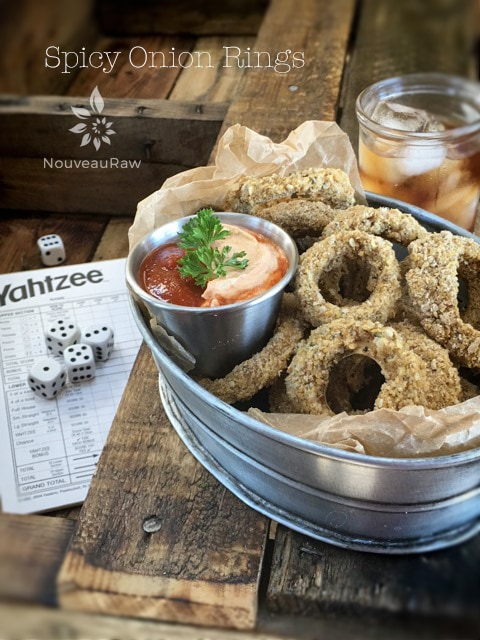 raw vegan gluten-free Spicy Onion Rings are perfect for game night snacks