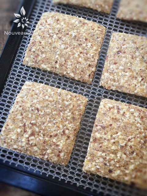 a close up of raw gluten free Almond Thin Crackers displayed on a dehydrator sheet