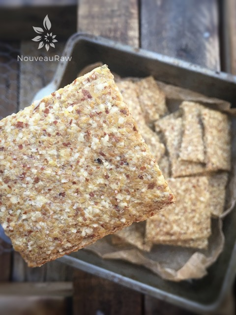 showing a close up of raw gluten free Almond Thin Crackers displayed on a dehydrator sheet