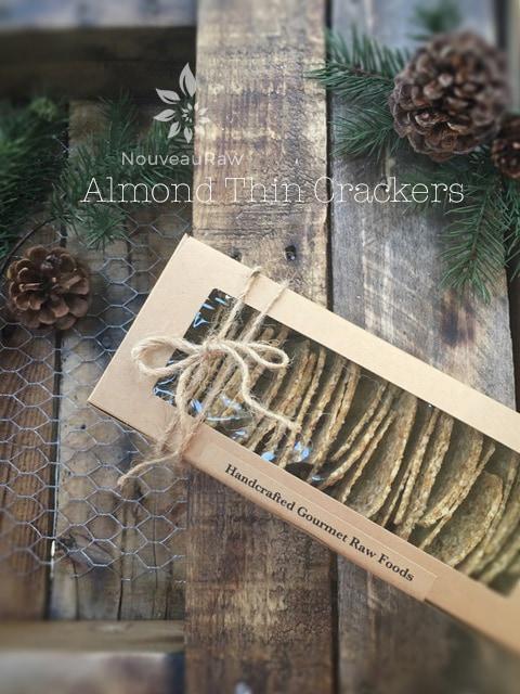 raw gluten free Almond Thin Crackers displayed in a windowed box