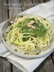 Basil Pesto and Zucchini Noodles (raw, vegan, gluten-free)