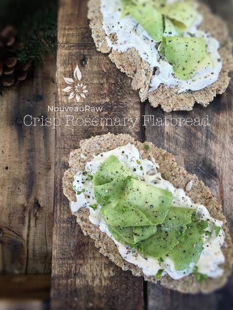 Crisp-delicious Rosemary-Flatbread served with raw tarter sauce and fresh avocado ribbons