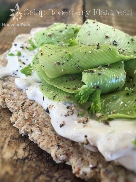 Crisp-Rosemary-Flatbread served with raw tarter sauce and fresh avocado ribbons
