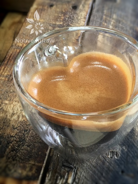 beautiful heart shaped glass with a shot of espresso in it for the bar