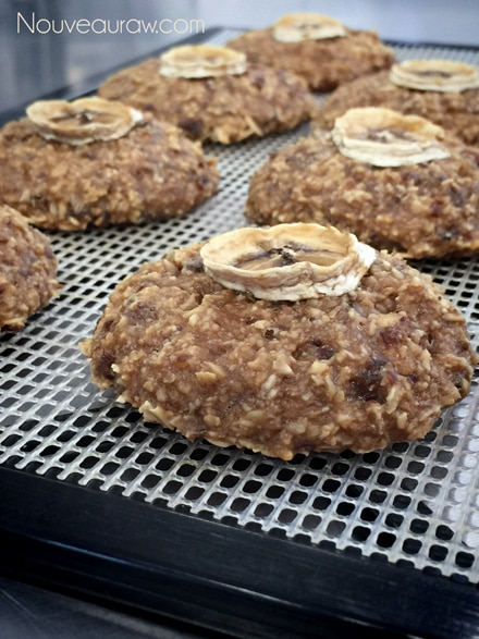 raw vegan Breakfast Nook Cookies on a dehydrator tray with a dried banana chip on top