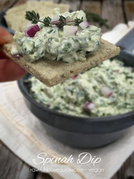 raw, vegan Spinach Dip served on a raw cracker