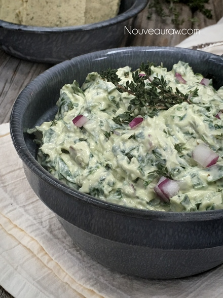 a close up of raw, vegan, delicious Spinach Dip