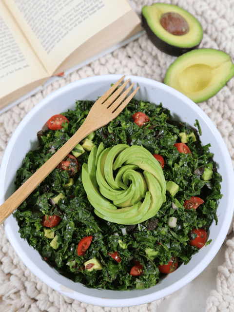 raw and vegan salad recipe for Three green salad with avocado flower