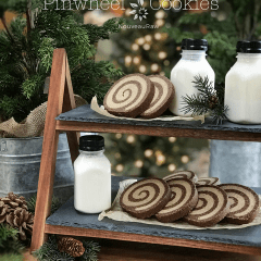 Peanut-Butter-Chocolate-Pinwheel-Cookies served with almond milk
