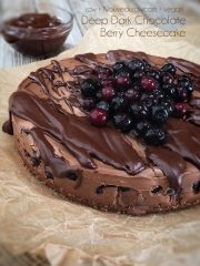 Deep Dark Chocolate Berry Cheesecake  (raw, vegan, gluten-free)