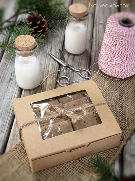 raw gluten free Graham Crackers packaged in a box for gift giving