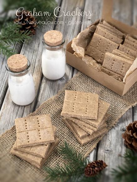 raw gluten free Graham Crackers served with fresh almond milk