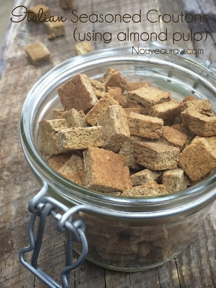 raw gluten free Italian Seasoned Croutons - using almond meal