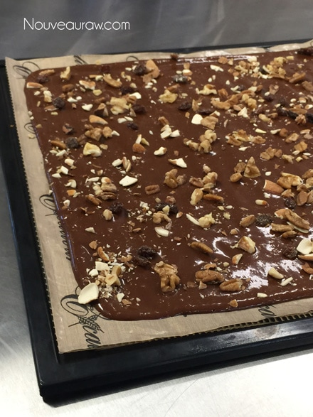 spreading the raw vegan Chocolate Banana Wraps on the dehydrator tray and sprinkle on the raw nuts