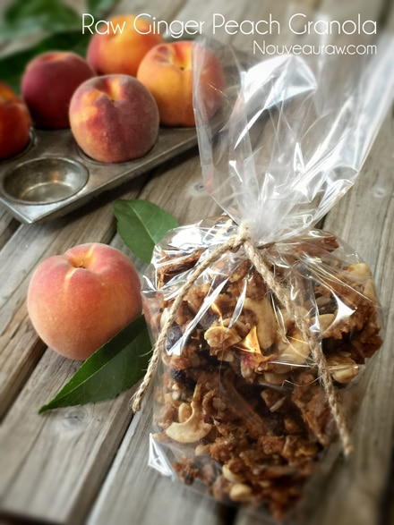 raw gluten-free Ginger Peach Granola wrapped in a plastic bag