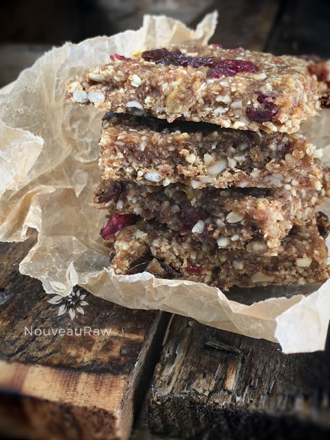 Raw Gluten-Free Apple Raisin Cranberry Bars stacked in a Parchment Paper