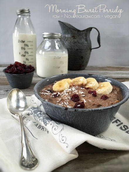 Warm and cozy Morning Burst Porridge with chopped bananas and dried cranberries