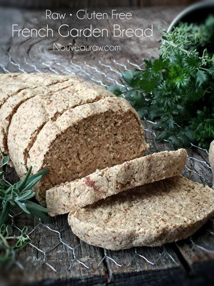 Raw, vegan, gluten free bread. Raw french garden bread