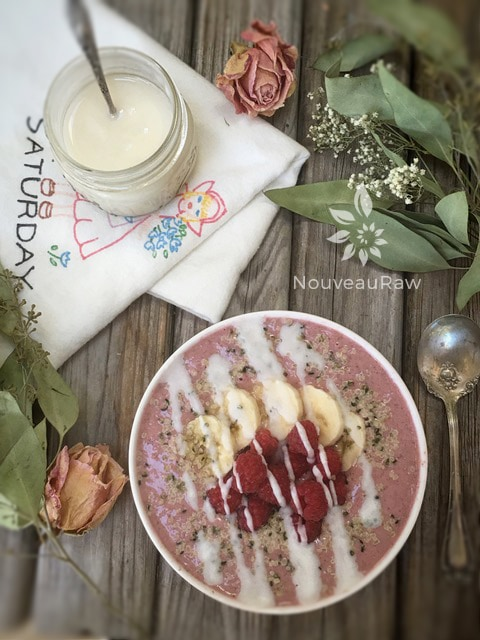 Yummy Almond Raspberry Porridge and Saturday Dish Towel