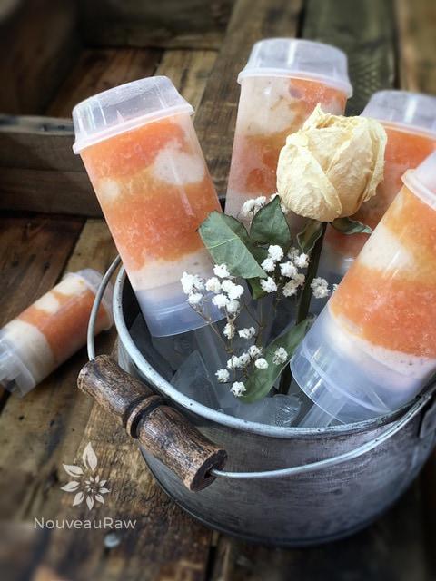 raw vegan Banana Papaya Dixie Pops made in push-pop containers