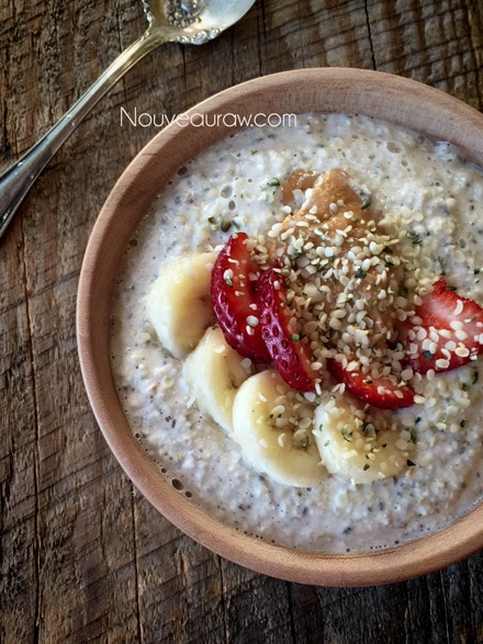 Raw Gluten-Free Cookie Dough Oat Porridge with fresh strawberries & bananas