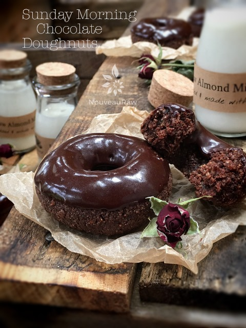 raw vegan gluten-free Sunday Morning Chocolate Doughnuts served with almond milk