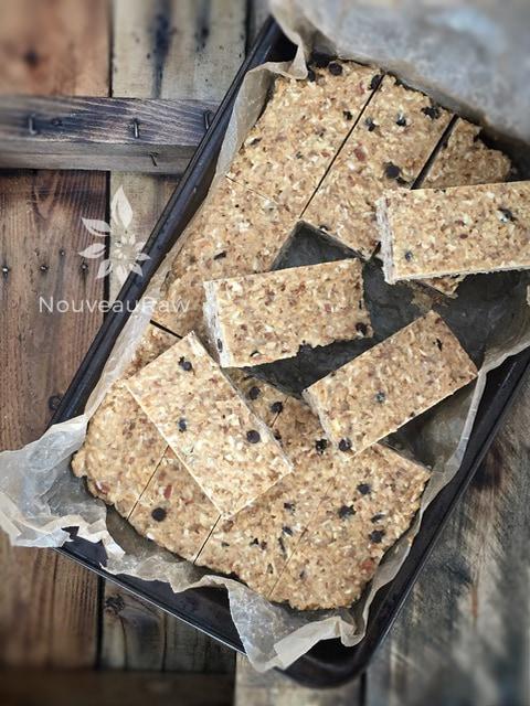 Raw Gluten-Free Peanut Butter Raisin Bars Cut in Baking Pan
