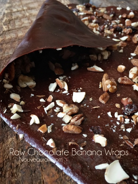 raw vegan no added sugar Chocolate Banana Wraps with nuts on top