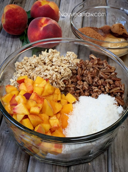 The ingrideients of Raw, Gluten-Free Pecan Peach Granola