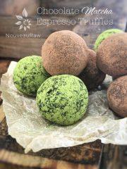 Chocolate Matcha Espresso Truffles  (raw, vegan, gluten-free, nut-free)