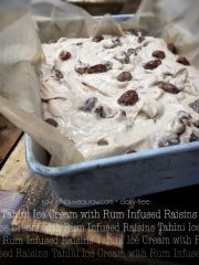 Tahini Ice Cream with Rum Infused Raisins (raw, vegan, gluten-free)