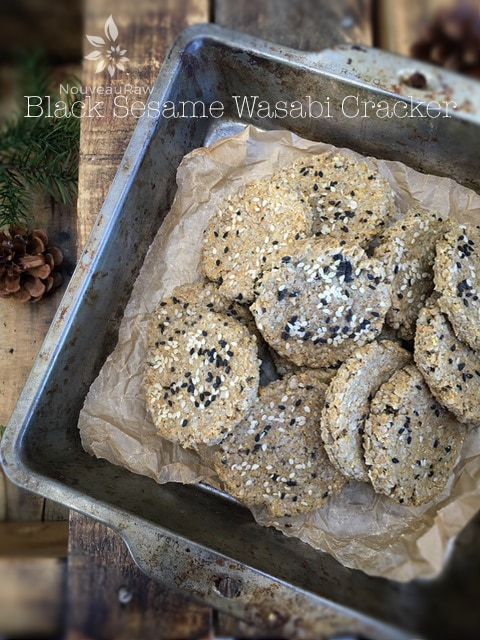 gluten-free Black Sesame Wasabi Crackers with a kick of wasabi heat