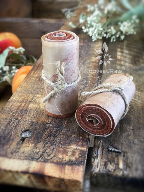 sugar- free apricot fruit leather rolled and tied with twine