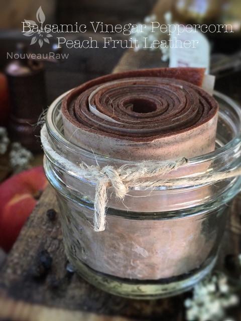 raw, vegan, gluten-free, nut-free Balsamic Vinegar Peppercorn Peach Fruit Leather