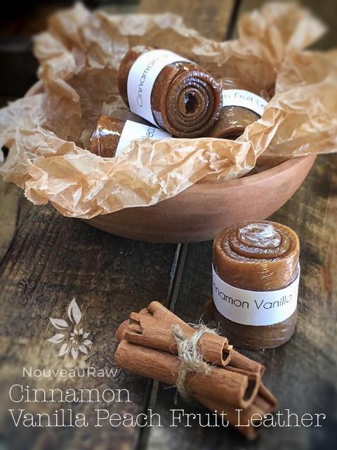 Raw, vegan, gluten-free, and nut-free Cinnamon Vanilla Peach Fruit Leather