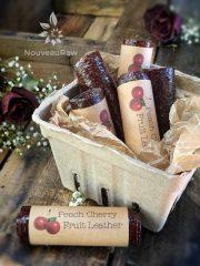 Peach Cherry Fruit Leather (raw, vegan, gluten-free, nut-free)