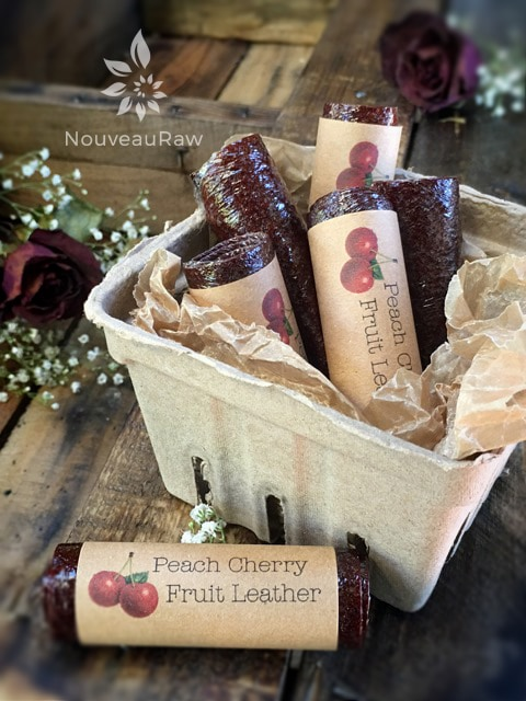 raw  peach cherry fruit leather rolled and labels beautifully