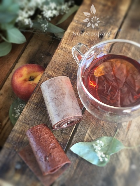 rolled up Peach Fruit Leather infused with Chai Coconut Tea