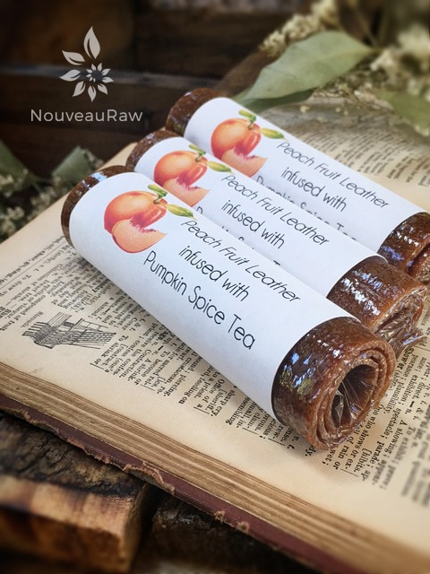 raw Sweet Peach Fruit Leather rolled and labeled for gift giving