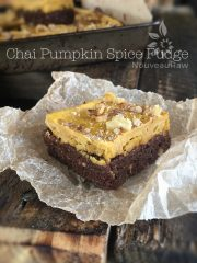Chai Pumpkin Spice Fudge with Maple Pumpkin Butter Frosting (raw, vegan, gluten-free)