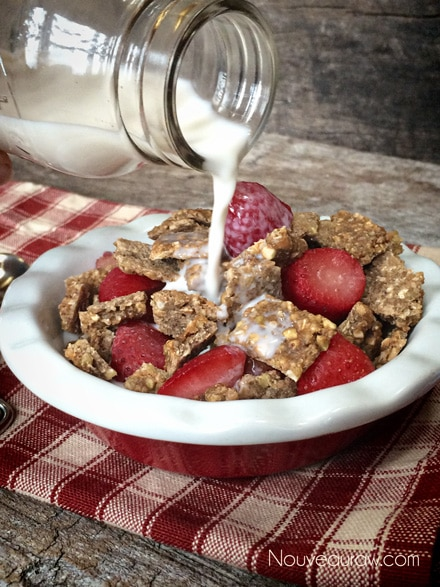 Adding almond milk onto Crunchy Peanut Butter and Buckwheat Cereal Squares