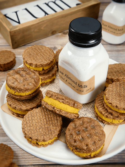 Ginger-Pumpkin-Spice-Waffle-Sandwich-Cookies-with-almond-milk