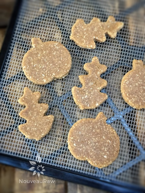 Carefully transfer the cut out cookies to the mesh screen that comes with the dehydrator. This will speed up the dry time by allowing the air to better circulate around the cookies.