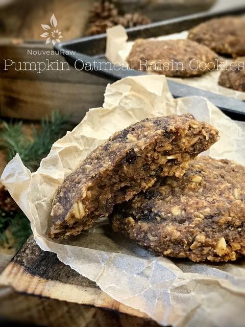Raw, Vegan, Gluten Free Pumpkin Oatmeal Raisin Cookies