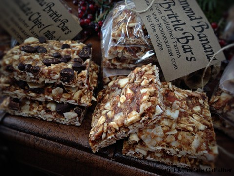 Raw Gluten-Free Almond Banana Brittle Cookie Squares on Leather Bag