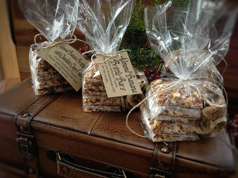 Raw Gluten-Free Almond Banana Brittle Cookie Square Packages on Leather Bag